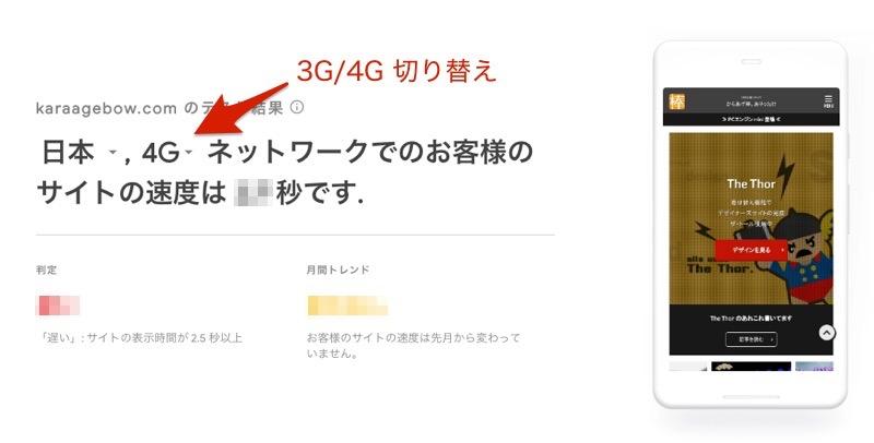 Test My Site 設定 4G THE THOR 速さ