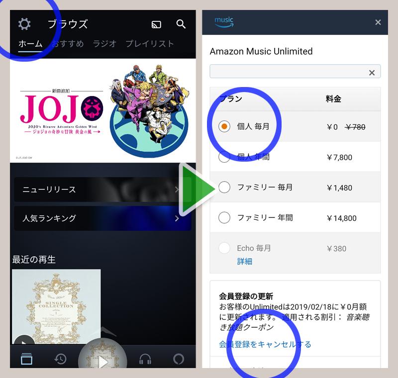 amazon music unlimited 解約