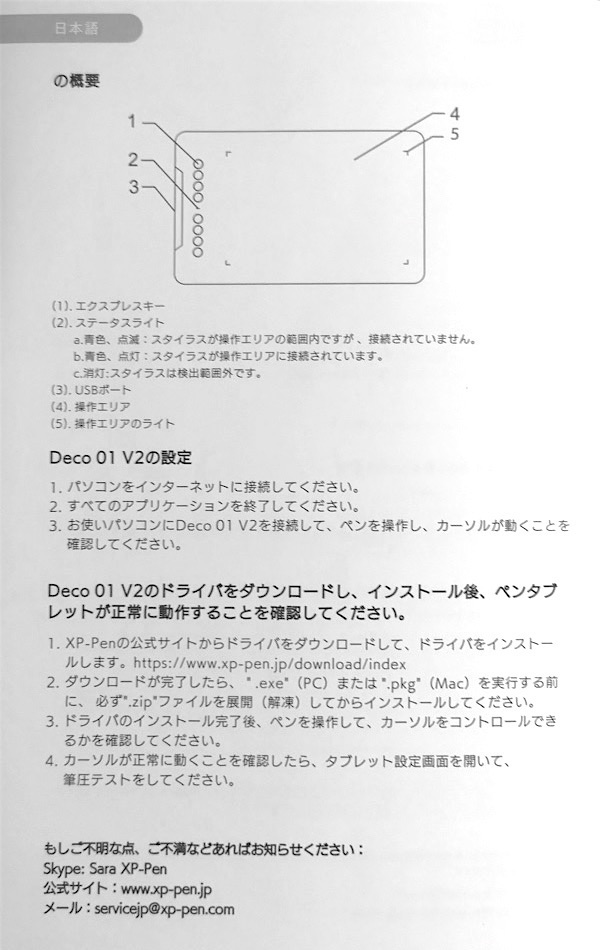 XP-PEN DECO 01V 設定
