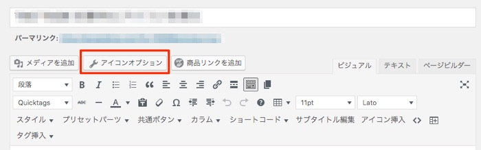 アイコン オプション クラス名 挿入